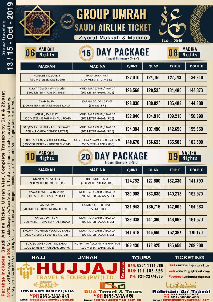 Economy Umrah Packages 15 Days & 20 Days