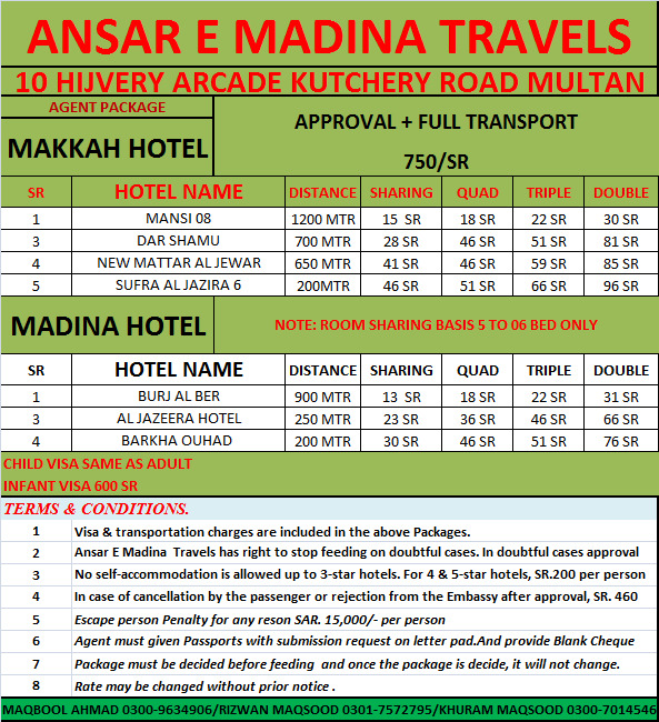 Only Umrah Visa with Hotel Rates
