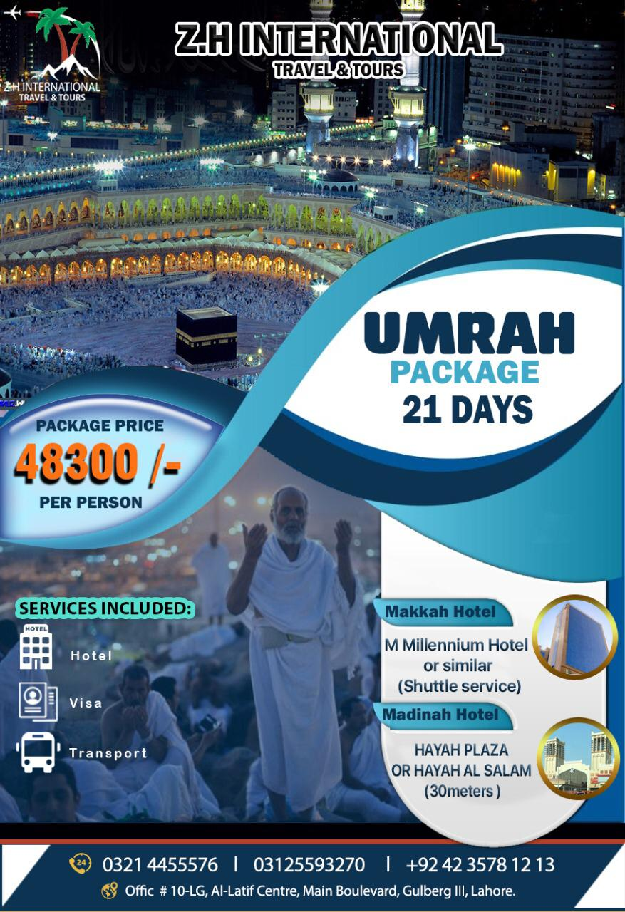 21 Days Umrah package (shuttle service) ONLY Package